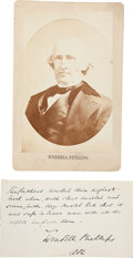 Autographs:Celebrities, Wendell Phillips Autograph Quote Signed and Cabinet Photo. ...