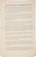 Miscellaneous:Broadside, Late 18th century New York Theater Prospectus for HALLAM &HODGKINSON. ...