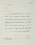 "Autographs:U.S. Presidents, Calvin Coolidge Typed Letter Signed as President. One page, 7"" x9"", Washington, December 5, 1923, on White House letter..."