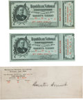 """Miscellaneous:Ephemera, Two Tickets to the 1904 Republican National Convention Belonging toSenator Smoot. Two """"Guest's Tickets"""" to the Republican C..."""