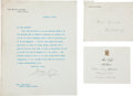 "Autographs:U.S. Presidents, William H. Taft Typed Letter Signed as President and PrintedInvitation from Mrs. Taft. One page, 7"" x 9"", Washington, ..."