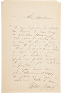 "Autographs:Non-American, César Franck Letter Signed ""César Franck"". Four integralpages written on page one, 5.25"" x 8.25"", n.p., n.d., in Fr..."