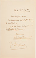 """Autographs:Non-American, Jules Massenet Autograph Letter Signed """"J. Massenet"""". Onepage, 4.3"""" x 7"""", Paris, February 20, 1883, in French. In the ..."""