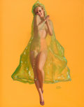 Pin-up and Glamour Art, EARL MORAN (American, 1893-1984). The Green Veil, circa1944. Pastel on board. 30.5 x 23.5 in.. Signed lower right....