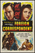 """Movie Posters:Hitchcock, Foreign Correspondent (Masterpiece, R-1948). One Sheet (27"""" X 41""""). Hitchcock.. ..."""