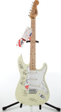 Musical Instruments:Electric Guitars, 1990s Fender Squire Stratocaster Olympic White Electric GuitarAutographed by Monster Magnet, #WN5002307....
