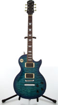 Musical Instruments:Electric Guitars, 2002 Epiphone Les Paul Limited Edition Blue Photo Flame ElectricGuitar, #U02100867....