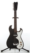 Musical Instruments:Electric Guitars, 1960s Silvertone 1448 Black Electric Guitar with Amp Hard Case,#185.10010....