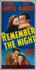 "Movie Posters:Comedy, Remember the Night (Paramount, 1940). Three Sheet (41"" X 81"").Comedy.. ..."