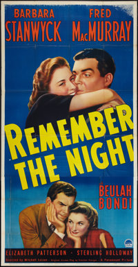 "Remember the Night (Paramount, 1940). Three Sheet (41"" X 81""). Comedy"