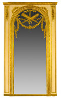 Furniture : French, A FRENCH LOUIS XVI-STYLE GILTWOOD TRUMEAU MIRROR . Probably Paris,France, circa 1875-1890. Unmarked. 91 x 51 x 5 inches (23...