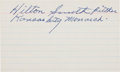 Autographs:Index Cards, 1970's Hilton Smith Signed Index Card....