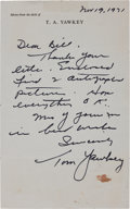 Autographs:Letters, 1971 Tom Yawkey Handwritten Signed Letter....
