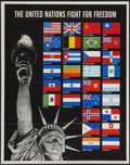 """Movie Posters:War, War Propaganda Poster (U.S. Government Printing, 1942). WWII OWINo. 19 Poster (22"""" X 28""""). """"The United Nations Fight For Fr..."""