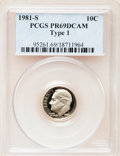 Proof Roosevelt Dimes: , 1981-S 10C Type One PR69 Deep Cameo PCGS. PCGS Population(5920/165). Numismedia Wsl. Price for problem...