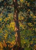 Mainstream Illustration, WALTER H. EVERETT (American, 1880-1946). Trees, October 22,1945. Oil on board. 16 x 12 in.. Signed and dated verso. ...