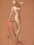Pin-up and Glamour Art, BRADSHAW CRANDELL (American, 1896-1966). Standing Nude.Pastel on board. 24 x 18.5 in.. Signed lower right. Fromthe...