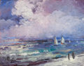 Fine Art - Painting, American:Contemporary   (1950 to present)  , LÉON DABO (American, 1868-1960). Seascape with Sailboats .Oil on panel . 18 x 20 inches (45.7 x 50.8 cm). Signed and mo...