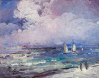 LÉON DABO (American, 1868-1960) Seascape with Sailboats Oil on panel 18 x 20 inches (45.7 x 50