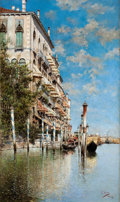 Paintings, PROPERTY FROM A DALLAS PRIVATE COLLECTION. RAFAEL SENET Y PEREZ (Spanish, 1856-1926). Along the Grand Canal. Oil on ca...