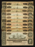 Confederate Notes:1864 Issues, T67 $20 1864. Ten Examples.. ... (Total: 10 notes)