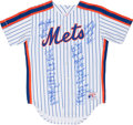 Baseball Collectibles:Uniforms, 1986 New York Mets Team Signed Jersey (34 Signatures). ...