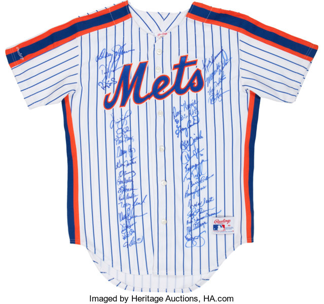 huge selection of e4bc8 526ab 1986 New York Mets Team Signed Jersey (34 Signatures ...