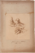 Antiques:Posters & Prints, Guercino (Giovanni Francesco Barbieri (1591-1666)). Engraved Sketchof God and Two Angels, ca. 1650....