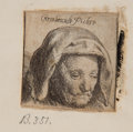 Books:Prints & Leaves, [Rembrandt Van Rijn]. Two Small Engravings - One of His Mother, Oneof a Bearded Man. ... (Total: 2 Items)