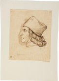 Books:Art & Architecture, [Domenico Ghirlandaio, in the style of]. Original Iron Gall Ink Drawing of a Man in Profile....