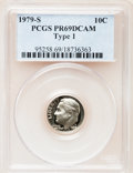 Proof Roosevelt Dimes: , 1979-S 10C Type One PR69 Deep Cameo PCGS. PCGS Population(4616/264). Numismedia Wsl. Price for problem...