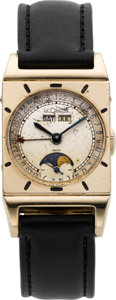 Timepieces:Wristwatch, LeCoultre Triple Calendar Moon Phase Wristwatch, circa 1950. ...