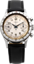 """Timepieces:Wristwatch, Gallet """"Flying Officer"""" World Time Chronograph Pilot's Watch, circa1940. ..."""