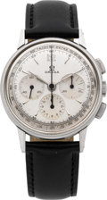 Timepieces:Wristwatch, Omega Vintage Steel Three Register Wristwatch, circa 1950's. ...
