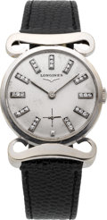 Timepieces:Wristwatch, Longines White Gold Diamond Dial With Unique Lugs, circa 1950's....