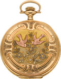 Timepieces:Pocket (post 1900), Elgin 16 Size Gold Multicolor Hunters Case, circa 1919. ...