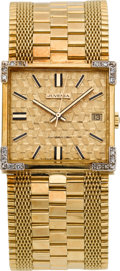 Timepieces:Wristwatch, Juvenia 18k Gold & Diamond Automatic Wristwatch, circa 1950's. ...
