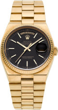 Timepieces:Wristwatch, Rolex Ref. 19000 Gold Oysterquartz Day-Date Wristwatch, circa 1987. ...