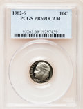 Proof Roosevelt Dimes: , 1982-S 10C PR69 Deep Cameo PCGS. PCGS Population (2530/108). NGCCensus: (391/53). Numismedia Wsl. Price for problem free ...