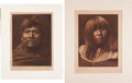 "Photography:Studio Portraits, Edward Sheriff Curtis (American, 1868-1952). Two Photogravures:""Pachílawa - Walapai Chief"" Plate 73 [and] ""... (Total: 2Items)"