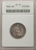 Seated Quarters: , 1848 25C AU50 ANACS. NGC Census: (4/18). PCGS Population (5/18).Mintage: 146,000. Numismedia Wsl. Price for problem free N...