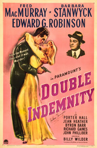 """Double Indemnity (Paramount, 1944). Autographed One Sheet (27"""" X 41"""")"""