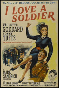 "I Love a Soldier (Paramount, 1944). One Sheet (27"" X 41""). Comedy. Directed by Mark Sandrich. Starring Paulett..."