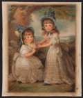Books:Prints & Leaves, Hand-Colored Lithograph of Two Young English Girls. Margins soiledand toned, else central image is in near fine condition. ...