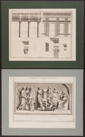 Books:Prints & Leaves, Two Engraved Illustrations Featuring Studies of Ancient RomanColumns and Statuary. Ca. 1690. Each plate with a central bind...(Total: 2 Items)