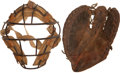 Baseball Collectibles:Others, Vintage Baseball Catcher's Mask and Mitt Lot of 2....