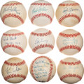 Baseball Collectibles:Balls, Baseball Greats Single Signed Baseballs Lot of 9....