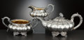 Silver Holloware, British:Holloware, A THREE-PIECE GEORGE IV SILVER AND SILVER GILT TEA SERVICE . PaulStorr, London, England, circa 1830-1831. Marks: (lion pass...(Total: 3 Items Items)