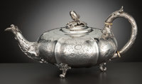 A WILLIAM IV SILVER TEAPOT Storr & Mortimer, London, England, circa 1836-1837 Marks: STORR & MORTIMER<