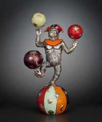 AN AMERICAN SILVER AND ENAMEL FIGURAL JUGGLING CIRCUS MONKEY Designed by Gene Moore for Tiffany & Co., New York